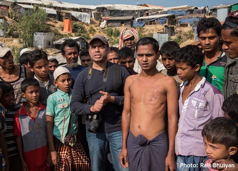 Rais with Rohingya refugees
