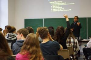 Rais engaging with high school students in Berlin, Germany, 2016