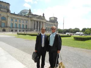 Rais with Dr. Rick Halperin, Director of Embry Human Rights Program at SMU outside the German Parliament following a press conference with local media, the commissioner of German Human Rights and members of Parliament, Berlin, Germany, 2011