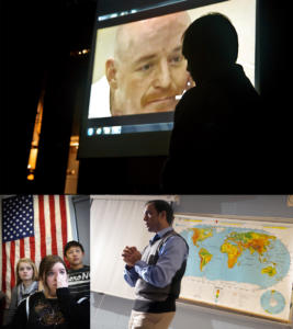 Speaking with students at Glastonbury High School. Photo: Hartford Courant, Glastonbury, CT, 2012