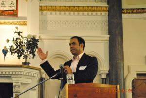 Sharing his story with congregation members at a church in Bath, England, 2013